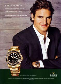 Roger Federer Rolex Watch - i cant even. Obsessed with Rolex Breitling Watches, Rolex Gmt, Rolex Submariner, Roger Federer Rolex, Celebrity Branding, Wimbledon Tennis, Vintage Rolex, Vintage Watches, Luxury Watches