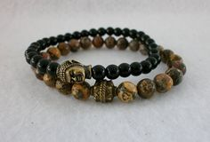 Unisex Black Jasper Gemstone Buddha by MECODesignsJewelry on Etsy