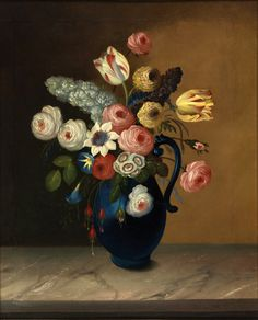 """Still life, flowers in a blue jug    oil on canvas painting by Van Diemonian (Tasmanian) artist and convictWilliam Buelow Gould(1801 - 1853).  Painted c1840 after Gould had received his Certificate of freedom.  It is signed in the lower left corner """"W.B.Gould, Painter"""".  Actual size (framed) 690 x 560mm."""