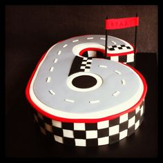 Number 6 racing track cake for 6th birthday - Cakes by Lou