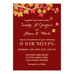 Fall Wedding Invitations Red Autumn Maple Leaves Fall Wedding Invitation
