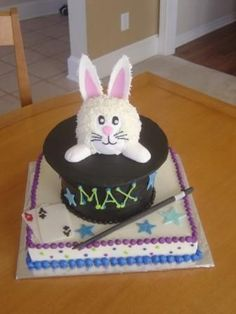 "3-8"" rounds w/ a cardboard top, small 5"" round shaped for bunny's head.  Fondant details and ears (overpiped w/ buttercream)."
