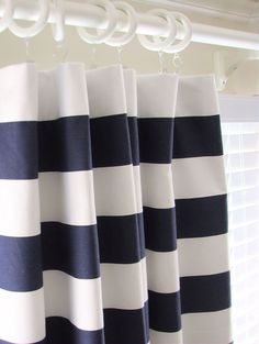 navy blue striped curtains - Google Search