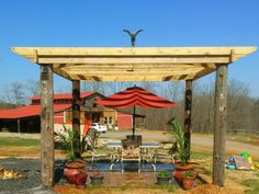 Re-used telephone poles from my pastures were perfect for my pergola.