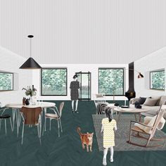 #architecture #home #homecontext #interior #livingspace #illustration #architecturalcollage #homeforfamily #homeconcept #aplusnoima Living Spaces, Collage, Interior, Illustration, Home, Indoor, House, Design Interiors, Illustrations