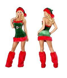 7f6dc5a6d1 Amazon.com  Kissria Women s Velvet Sexy Lingerie Red Miss Santa Claus  Christmas Chemises