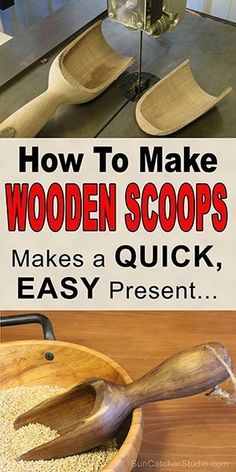 Make Wooden Scoops (Woodturning Project) How to make a wooden scoop on the lathe by woodturning.How to make a wooden scoop on the lathe by woodturning. Cool Wood Projects, Lathe Projects, Wood Turning Projects, Diy Projects, Project Ideas, Craft Ideas, Woodworking Lathe, Learn Woodworking, Woodworking Crafts