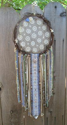 """Champagne Bloom Dreamcatcher-Doily Dream Catcher-Twig Wreath Dreamcatcher-French Countryside inspired large 12 """" grapevine wreath with doily on Etsy, $89.99"""
