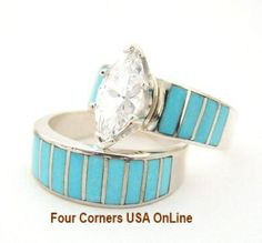 Turquoise Inlay Bridal Engagement Ring Set Size 5 Four Corners USA OnLine http://stores.fourcornersusaonline.com/turquoise-bridal-wedding-engagement-ring-set-size-5-native-american-indian-jewelry-ws-1417/  #weddingrings #bridalrings #Turquoise