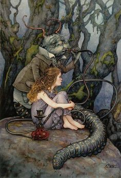 Alice and thhe Caterpillar by Arantza Sestayo Fantasy Myth Mystical Legend Wonderland Lewis Carroll, Art Magique, Alice In Wonderland Illustrations, Chesire Cat, Alice Madness, Were All Mad Here, Fairytale Art, Adventures In Wonderland, Wonderland Alice