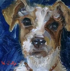 KYLE BUCKLAND AND JENN COUNTS ART COLLABORATION DOG PAINTING JACK RUSSEL  PUPPY  Impressionism FINE ART WALL ART HOME INTERIOR DECOR COLLECTIBLE
