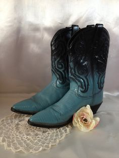 Cowboy Boots Cowgirl Boots Turquoise Boots Teal by couturecafe