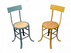 Pair of 1920′s metal and wood industrial chairs in old paint