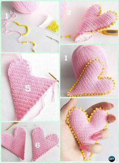 Crochet 3D Beaded Heart Free Pattern- Crochet Heart Free Patterns
