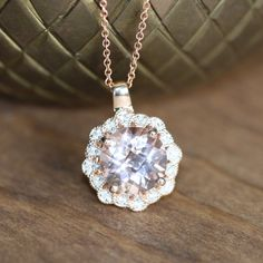 Vintage Inspired Morganite Necklace in 14k Rose Gold by LuxCrown