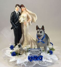 Wedding Cake Topper With German Shepherd and Siamese Cat
