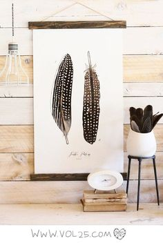Feather Patterns Vol.4 - large wall hanging, wood trim and printed on textured cotton canvas. Vintage Science Posters