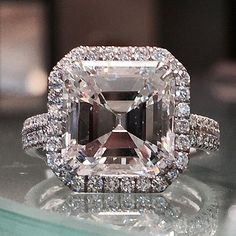 Gorgeous 5.01 asscher cut engagement ring. Visit us at www.alsonjewelers.com or call 216-464-6767 for more information.