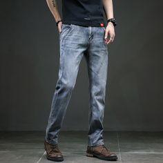 Men's Jeans Slim Straight Trousers Visit: www.menpant.com/product/mens-jeans-slim-straight-trousers/ 2020 Spring Summer Men's Brand Jeans Slim Straight Trousers Elastic Anti-theft Zipper Denim Blue Pants Male Big Size 28-40 #MenPant #men #pant #usa #uk