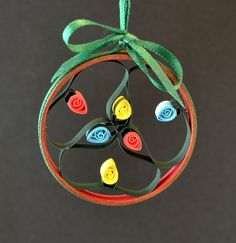 Christmas ornament string of lights quilled paper in by Whomsoever