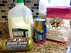 The Grubery: Easy Biscuits and Sausage Gravy Recipe - breakfast - Sausage Recipes Bisquits And Gravy, Easy Biscuits And Gravy, Biscuits And Gravy Casserole, Sausage Biscuits, Macaroni Cheese Recipes, Bisquick Recipes, Jimmy Dean Sausage Gravy Recipe, Breakfast Sausage Recipes, Breakfast Biscuits
