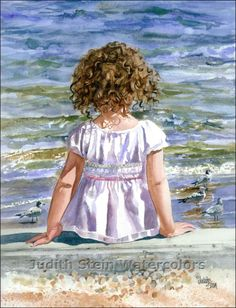 Judith Stein Watercolors - Children on the Beach