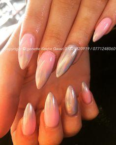 Baby pink unicorn ombré nails. Gel CND shellac & metal manix holo manix acrylic nails