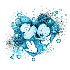One Heart Watercolor In Blue # Mickey and Minnie Mouse