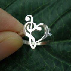 Music Love Heart Ring - Treble Clef Bass clef Ring | yhtanaff - Jewelry on ArtFire