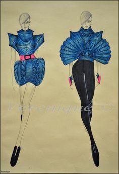 Blue collection by ~Verenique on deviantART Dress Design Sketches, Fashion Design Sketchbook, Fashion Design Drawings, Fashion Sketches, Manequin, Geometric Fashion, Fashion Illustration Dresses, Fashion Figures, Fashion Portfolio