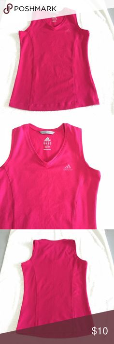 "Hot Pink Adidas Sport Top Hot Pink Adidas Sport Top. Size S measures flat: 16"" across chest, 24"" long. Has minor piling, see last pic. 805/200/081517RL adidas Tops"