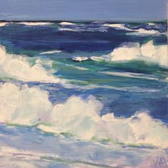 """""""Daily Painting Waves (series)"""" - Original Fine Art for Sale - ©Whitney Heavey Seascape Paintings, Landscape Paintings, Landscapes, Paintings Famous, Ocean Art, Ocean Waves, Daily Painters, Wave Art, Painting & Drawing"""