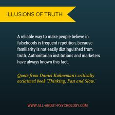 Daniel Kahneman quote from Thinking, Fast and Slow via www.all-about-psychology.com #psychology