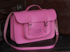 View our Women Classic Pink Leather Satchel 15 Inch With Handle from the Women Coloured Satchels collection