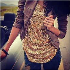 leather jacket and sparkle shirt