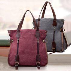 Women Canvas Vintage Handbag Retro Shoulder Bag Schoolbag