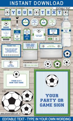 Soccer Party Printables Blue & Green full by SIMONEmadeit