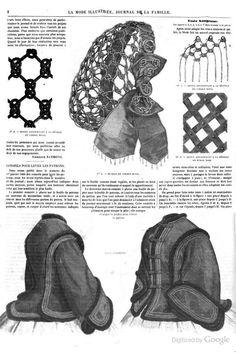 1861 La Mode Illustree. Notted hair net with silk ribbon trim.