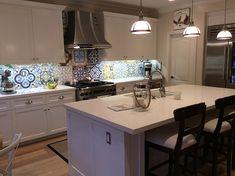 Cement Tile patchwork design creates an eye-catching backsplash.