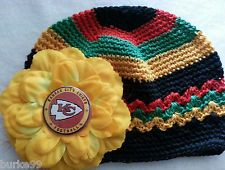 BABY Toddler Crochet Hat w Flower & KANSAS CITY CHIEFS Button 6 month - 3yrs