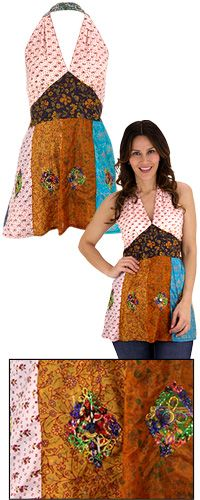 Recycled Silk Patchwork Halter Top at The Animal Rescue Site