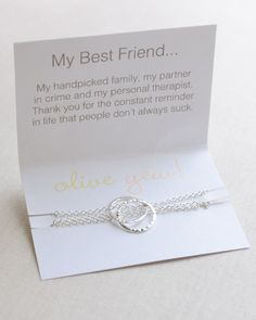 Best Friend Necklace with sweet and sassy card. This dainty friendship necklace is available in silver, gold or rose gold.