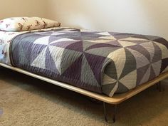 Ninas Custom Built Bed With Hairpin Legs
