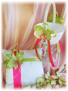 Wedding pillow basket fuchsia pink green orchids  by All4Brides, $65.00....would really love it with blue replacing green and a sm lime green flower