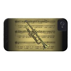 Trumpet ~ Sheet Music ~ Gold & Black Background