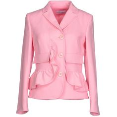 Redvalentino Blazer (2.410 BRL) ❤ liked on Polyvore featuring outerwear, jackets, blazers, blazer, pink, ruffled blazer, red valentino blazer, long sleeve jacket, red valentino jacket and pocket jacket