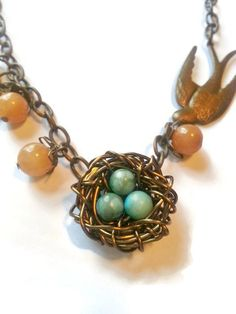 These birds nest earrings are handwrapped with 34 gauge wire and ...
