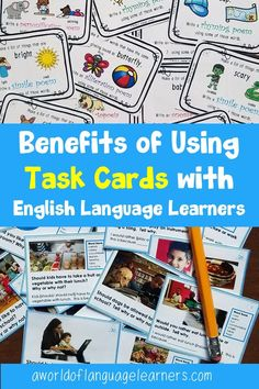 Learn about how to use task cards with your ESL students. Some of the benefits include that you can find visual task cards and use them for students to play games. English Language Learners, Teaching Language Arts, Spanish Language Learning, Help Teaching, Teaching Strategies, Teaching Ideas, Teaching Resources, What Is Classroom, Picture Writing Prompts
