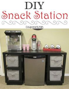 DIY Snack Station - Inexpensive desk transformed into a fun snack station for your family room, game room or theater room. Coupons4Utah