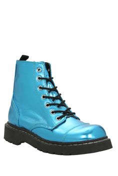 Anarchic By T.U.K. Turquoise Metallic 7 Eye Boot | Hot Topic